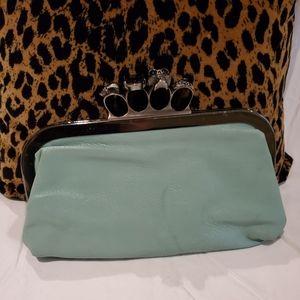 Mint green knuckle clutch